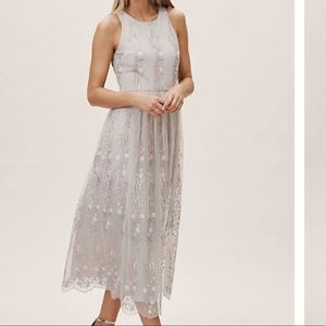 ANTHRO Gray Floral Embroidered midi dress